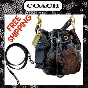 COACH POPPY SEQUINS CINCH Black Bag 17906 Like new